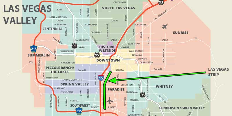 mapa de Las Vegas Valley